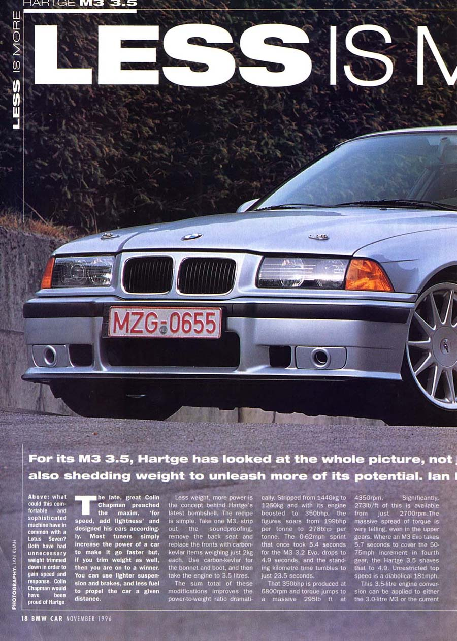 Editorial E36 M3 3 5 Bmwcar Less Is More Nov 1996